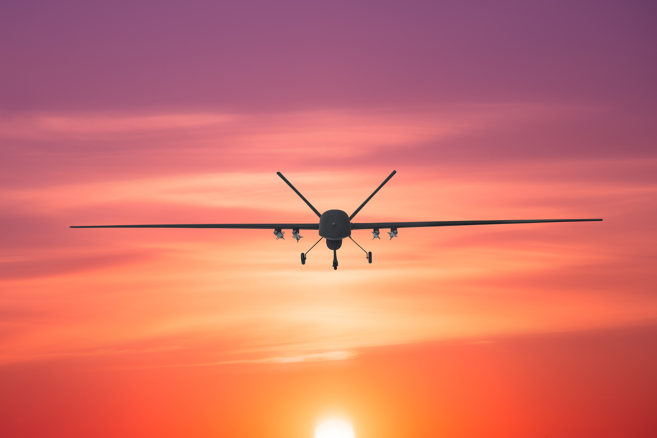 Unmanned Military Drone Patrols The Territory