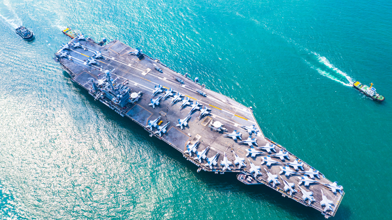 Military Navy Nuclear Aircraft Carrier, Military Navy Ship Carrier Full Loading Fighter Jet Aircraft.